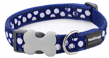 Red Dingo Dog Collar Navy and white Spot